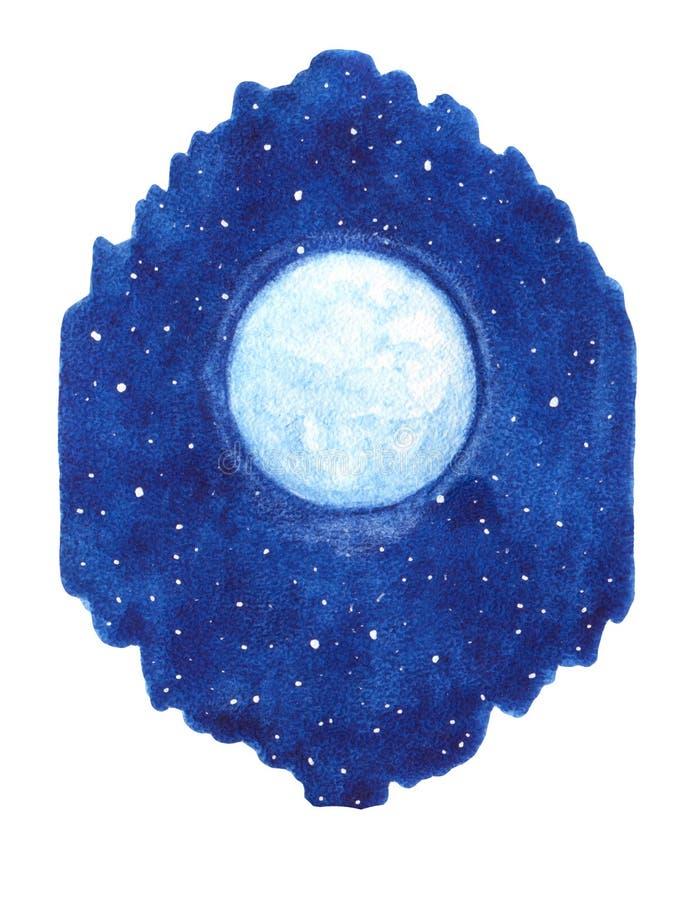 Wręcza patroszonej akwareli olśniewającą księżyc z gwiazdami na nocnym niebie royalty ilustracja