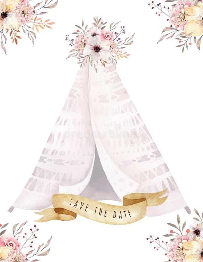 Wręcza patroszonej akwareli plemiennego teepee, odosobniony biały campsite namiot Boho Ameryka ornamentu tradycyjny rodzimy wigwa royalty ilustracja