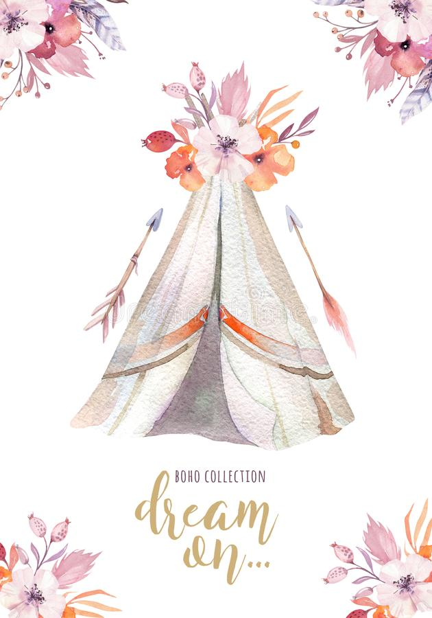 Wręcza patroszonej akwareli plemiennego teepee, odosobniony campsite namiot Boho Ameryka ornamentu tradycyjny rodzimy wigwam hind ilustracji