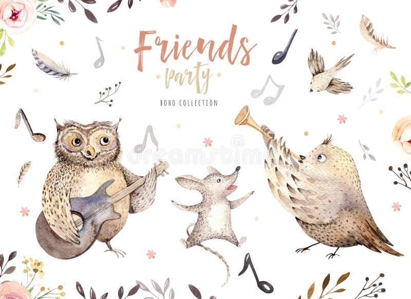 Wręcza patroszonej akwareli sowy, myszy i ptaków dancingowych zwierząt, Boho pepiniery dekoraci ilustracje, muzyczna modna sztuka royalty ilustracja
