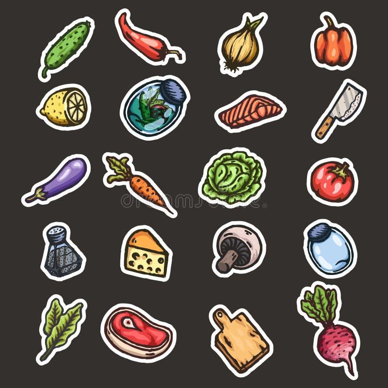 Wręcza patroszonej kreskówce bezszwowego wzór karmowy i kuchenny materiał ilustracji