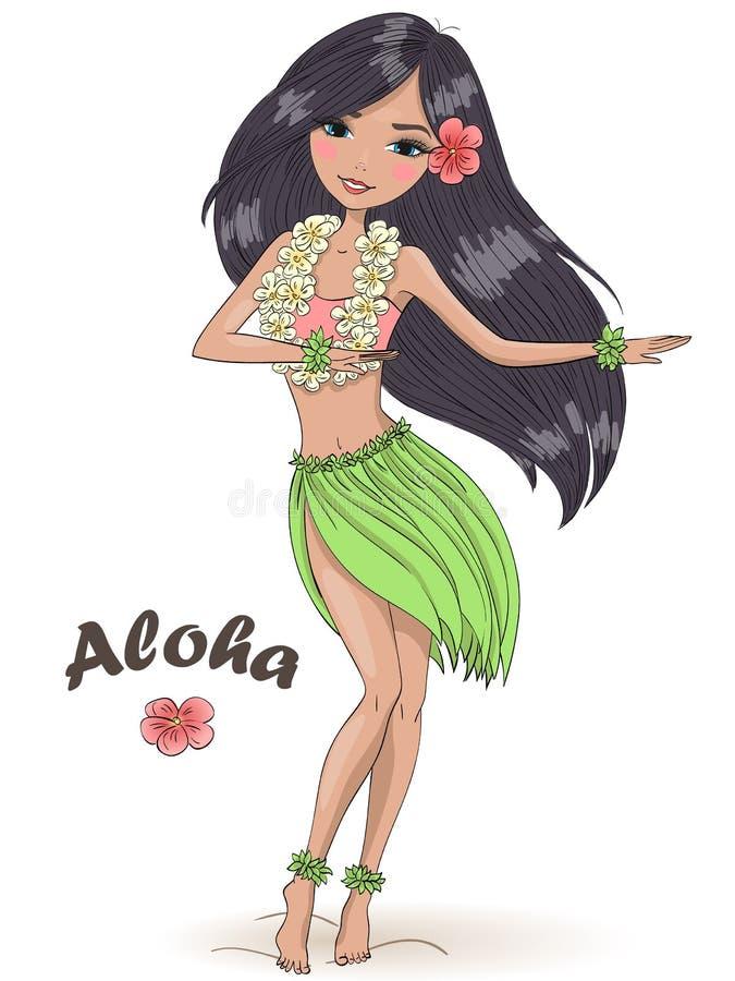 Ręcznie narysowana piękna dziewczyna z szyjką z hibiscus na tle z napisem Aloha Koncepcja hawajska ilustracji
