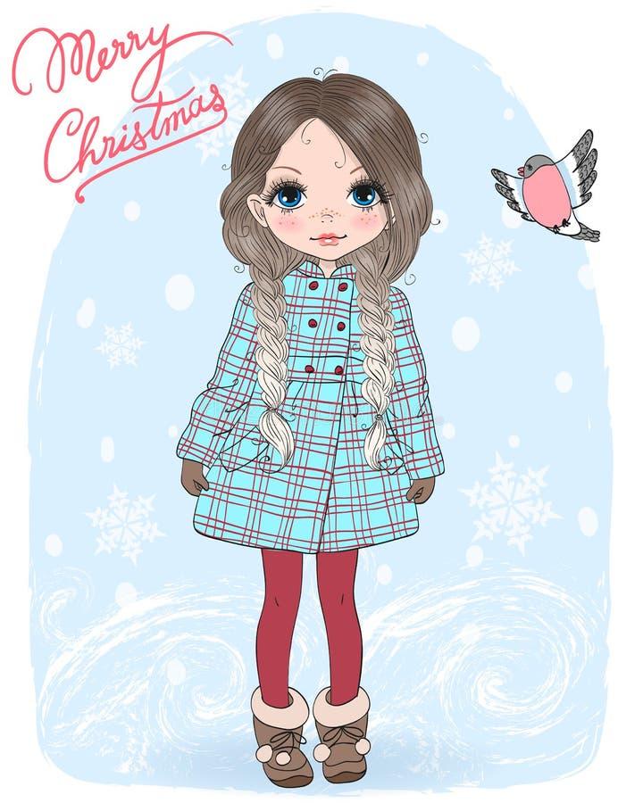 Wręcza patroszonej pięknej ślicznej małej zimy dziewczyny z ptakiem i słów Wesoło bożymi narodzeniami ilustracji
