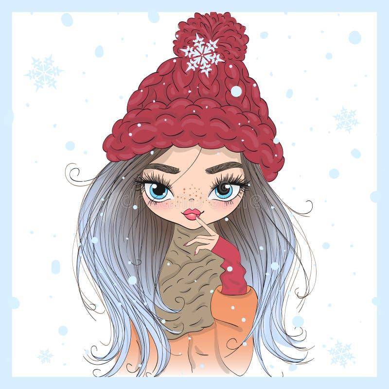 Wręcza patroszonej pięknej ślicznej zimy dziewczyny z kawą w jego ręce ilustracji