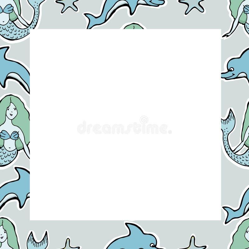 Wręcza Patroszonej Wektorowej Ślicznej syrenki, delfin, gwiazdy royalty ilustracja