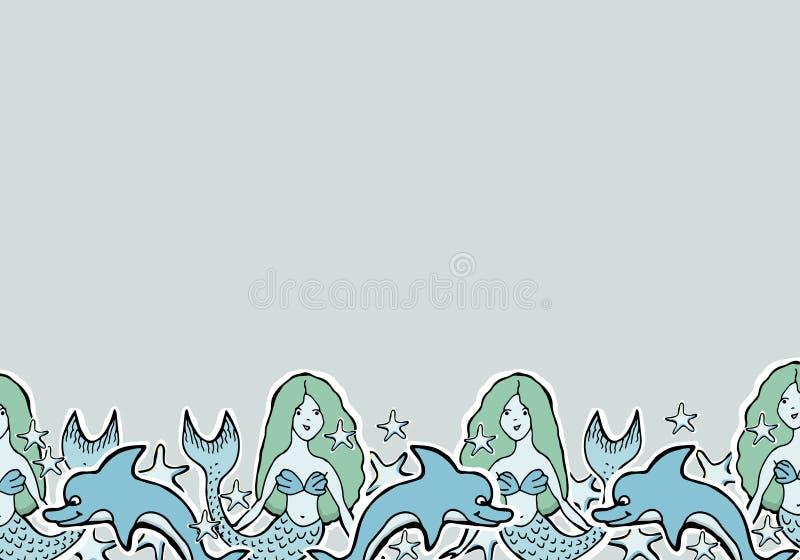 Wręcza Patroszonej Wektorowej Ślicznej syrenki, delfin, gwiazdy ilustracja wektor