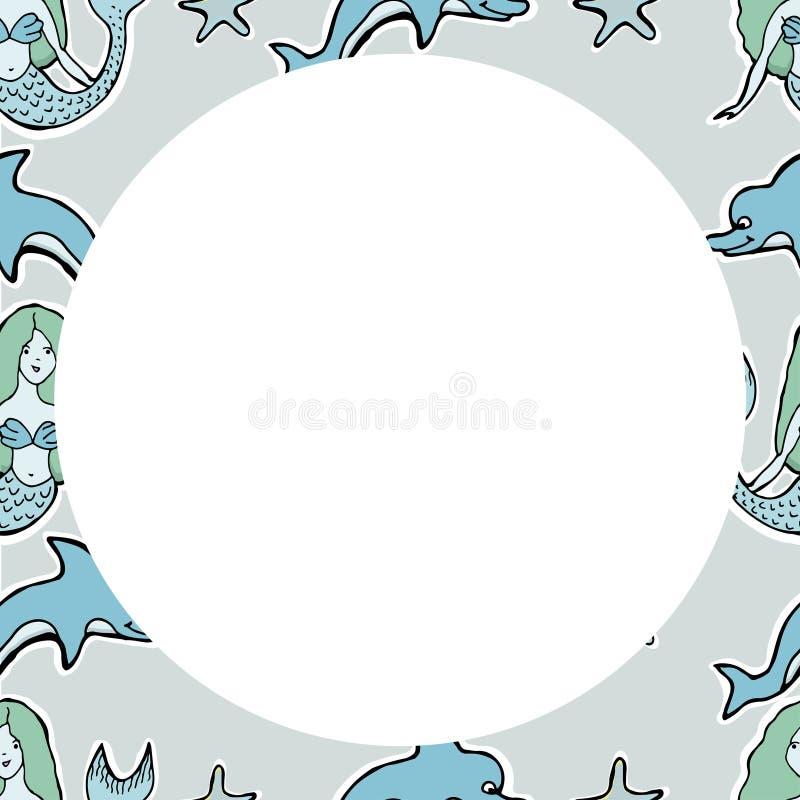 Wręcza Patroszonej Wektorowej Ślicznej syrenki, delfin, gwiazdy Rama Dla texti ilustracja wektor