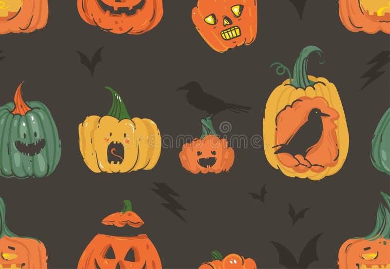 Wręcza patroszonej wektorowej abstrakcjonistycznej kreskówce Szczęśliwe Halloweenowe ilustracje bezszwowy wzór z baniami uzbrajać royalty ilustracja