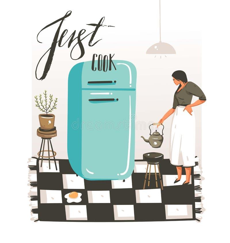 Wręcza patroszonej wektorowej abstrakcjonistycznej nowożytnej kreskówce kulinarnej klasy ilustracje plakatowe z retro rocznik kob ilustracja wektor
