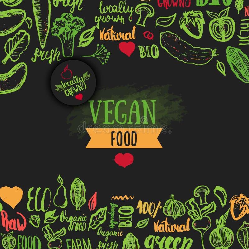 Wręcza patroszonemu eco karmowego plakat z literowaniem dla organicznie, życiorys, naturalny, weganin, jedzenie na ciemnym tle ilustracji