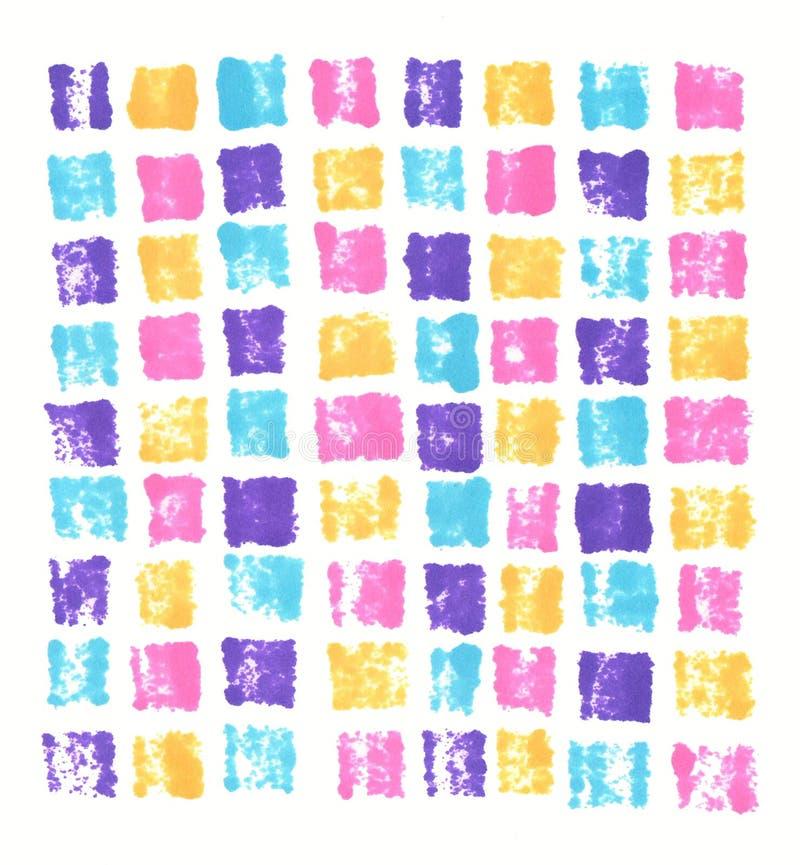 Wręcza patroszonemu markierowi abstrakcjonistycznego odcisk neonowe purpurowe błękit menchie pomarańczowy mozaiki tło ilustracja wektor