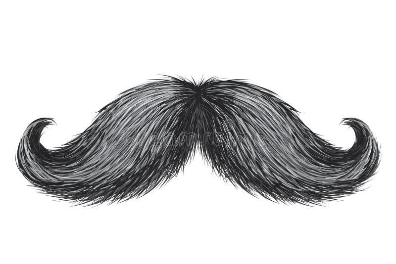 Wręcza patroszonemu realistycznemu wektorowemu rocznikowi retro wąsy odizolowywającego ilustracji