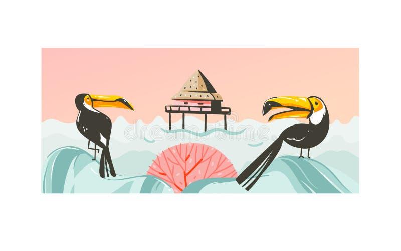 Wręcza patroszonemu wektorowemu abstrakcjonistycznemu kreskówki lata czasowi graficzną ilustraci sztukę z plażową zmierzch sceną  ilustracja wektor