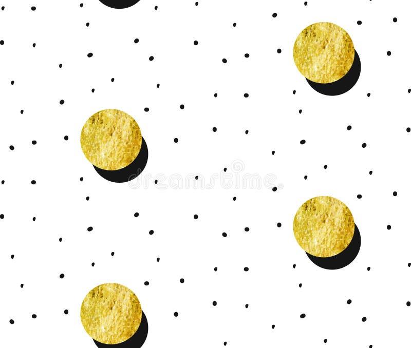 Wręcza patroszonemu wektorowemu abstrakcjonistycznemu złocistemu księżyc w pełni bezszwowego wzór i polek kropek teksturę na biał ilustracja wektor