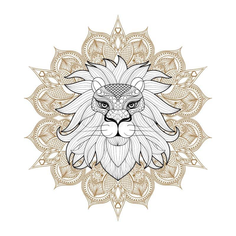 Wręcza patroszonemu zentangle Ornamentacyjnego lwa na mehendi mandala dla adul ilustracji