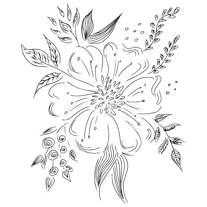 Wręcza patroszony abstrakcjonistycznego ustawiającego wildflowers odizolowywający na bielu Kwiecistego projekta elementy dla tw?j ilustracji