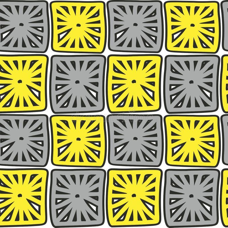 Wręcza patroszony abstrakt deseniujących koloru żółtego i szarość kwadraty na białym tle ilustracja wektor