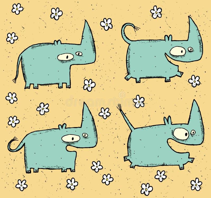 Wręcza patroszony grunge ilustracyjnego ustawiającego cztery ślicznego flowe i rhinos ilustracja wektor