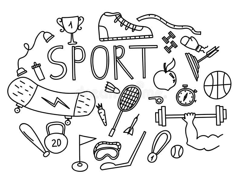 Wręcza patroszony ilustracyjnego ustawiającego sprawności fizycznej i sporta doodles znak royalty ilustracja
