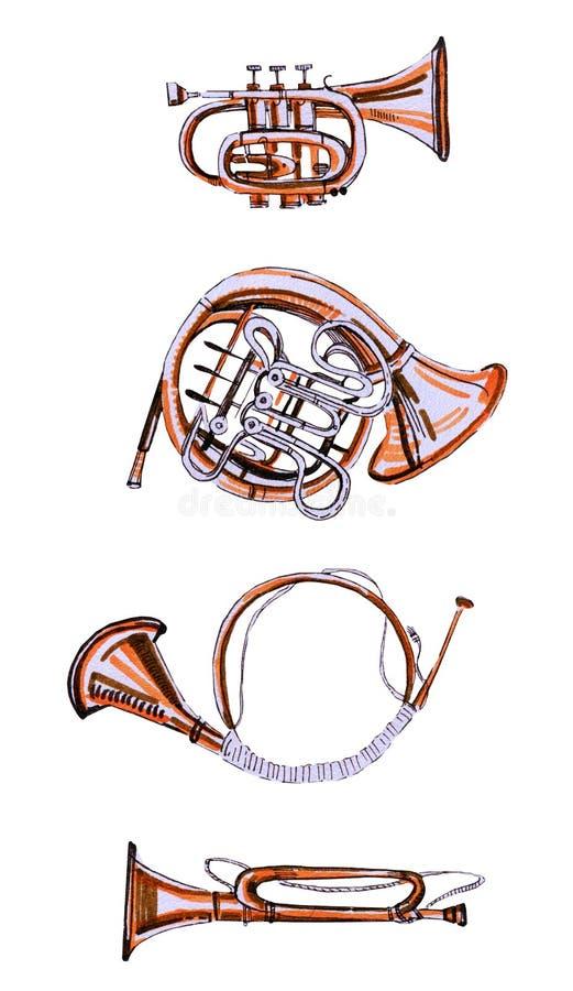 Wręcza patroszony ilustracyjnego ustawiającego stylizowani muzyczni instrumenty Drymba, francuski róg i róg, royalty ilustracja