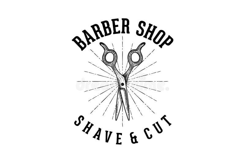 wręcza patroszony nożycowego, rocznika fryzjera męskiego sklepu logo projektów inspiracja Odizolowywająca na Białym tle ilustracja wektor