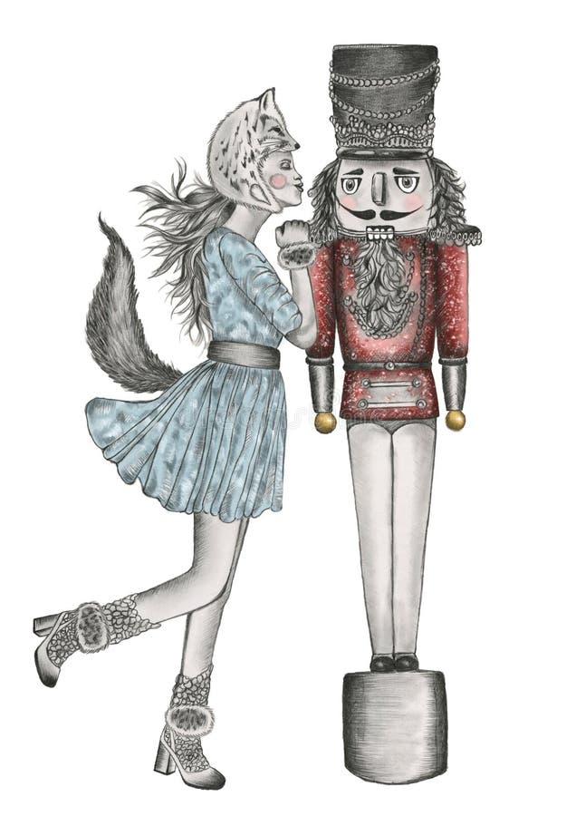 Wręcza patroszony ołówek barwiącą ilustrację kobieta jest ubranym lisa całowania kostiumowego dziadka do orzechów royalty ilustracja