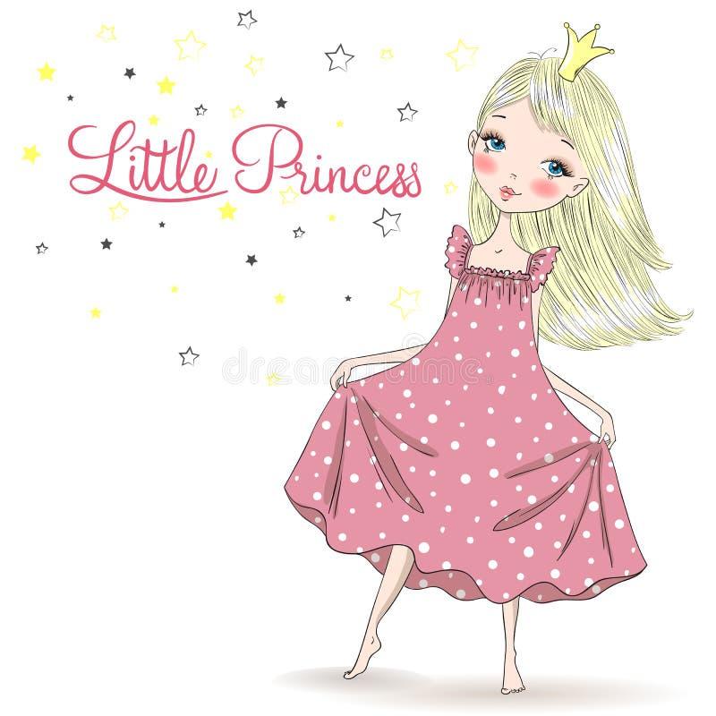 Piękna, słodka, mała księżniczka w koszuli nocnej ilustracja wektor