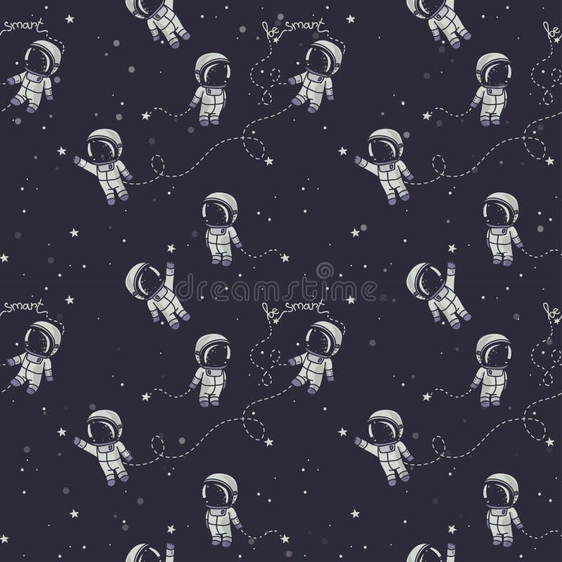 Wręcza patroszonych astronauta z gwiazdozbiorami i planetami w spaÑ  e royalty ilustracja