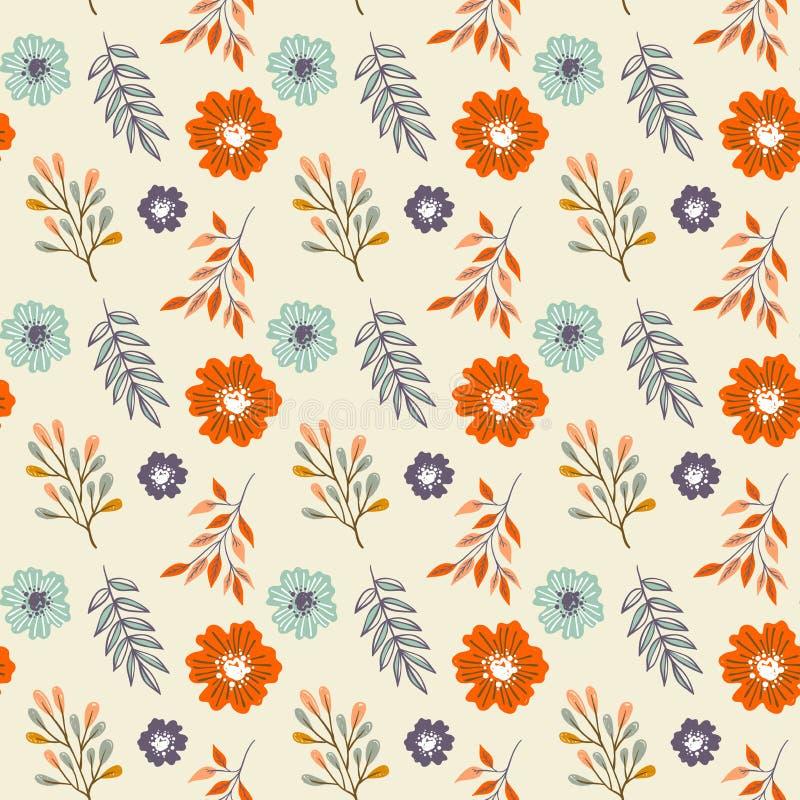 Wręcza patroszonych bezszwowych kwiaty i liście deseniują - tkanina projekta kolekcje ilustracji