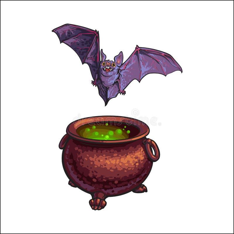 Wręcza patroszonych Halloweenowych symbole - latać wampira nietoperz i czarownica kocioł ilustracja wektor
