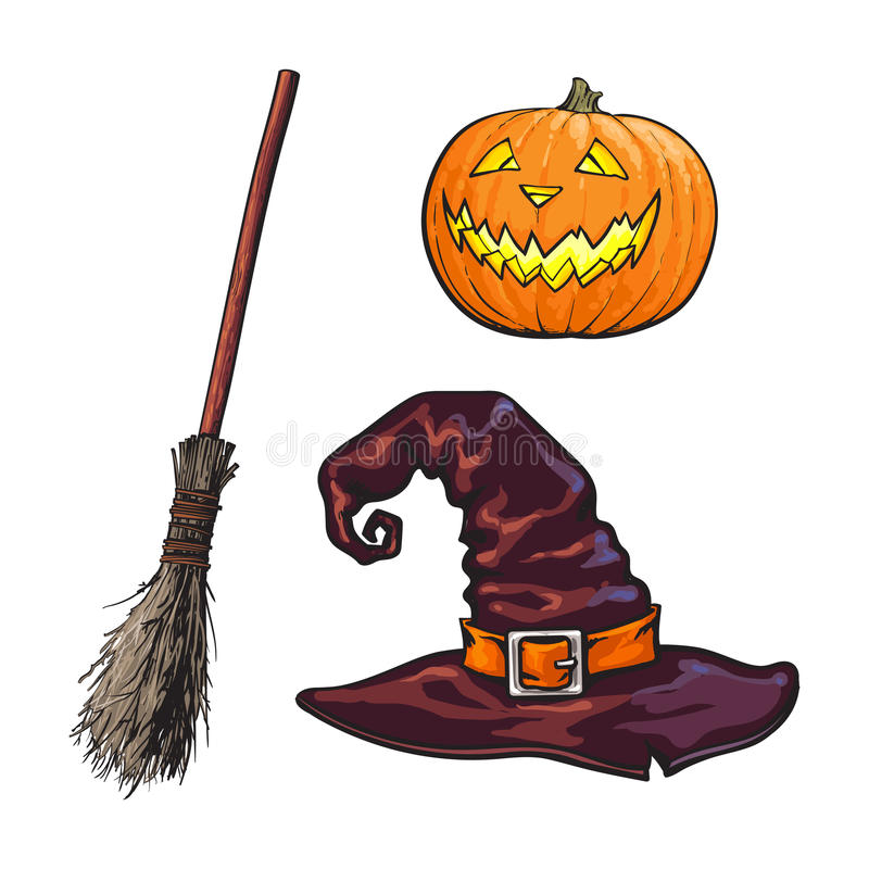 Wręcza patroszonych Halloweenowych symbole - pumpking lampion, śpiczasty kapelusz, czarownicy miotła royalty ilustracja