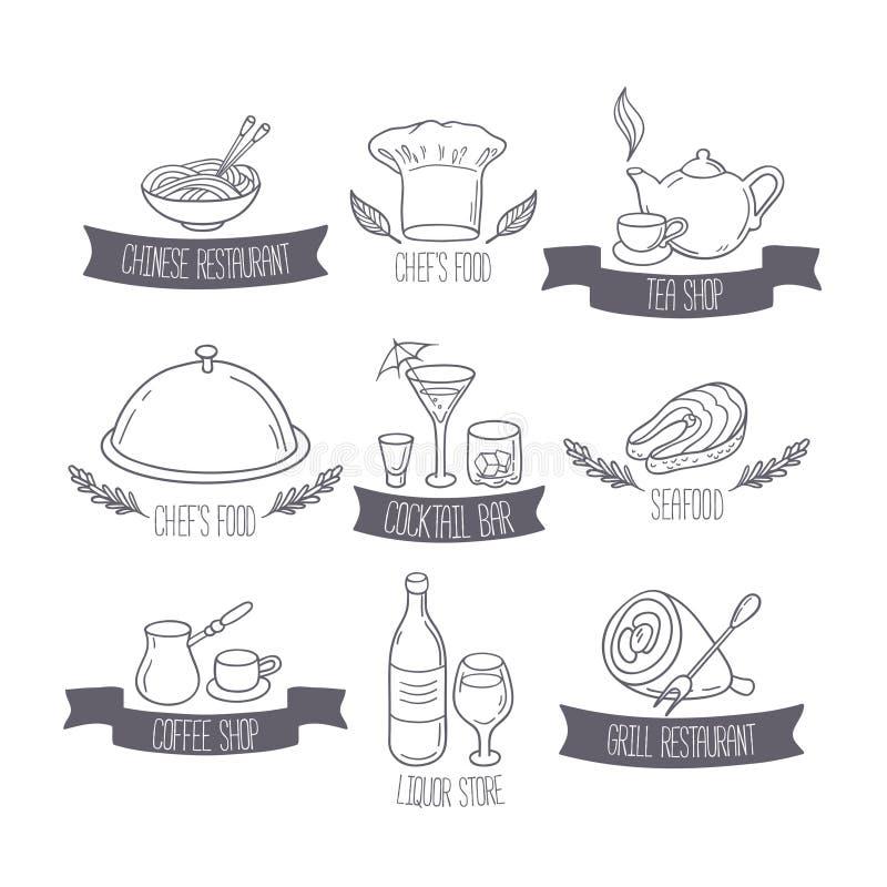 Wręcza patroszonych jedzenia, napojów etykietek szablony dla des i ilustracja wektor