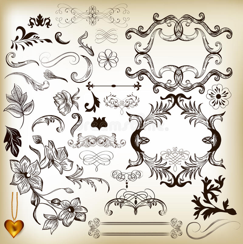 Wręcza patroszonych kaligraficznych projektów elementy i stron dekoracje ilustracja wektor
