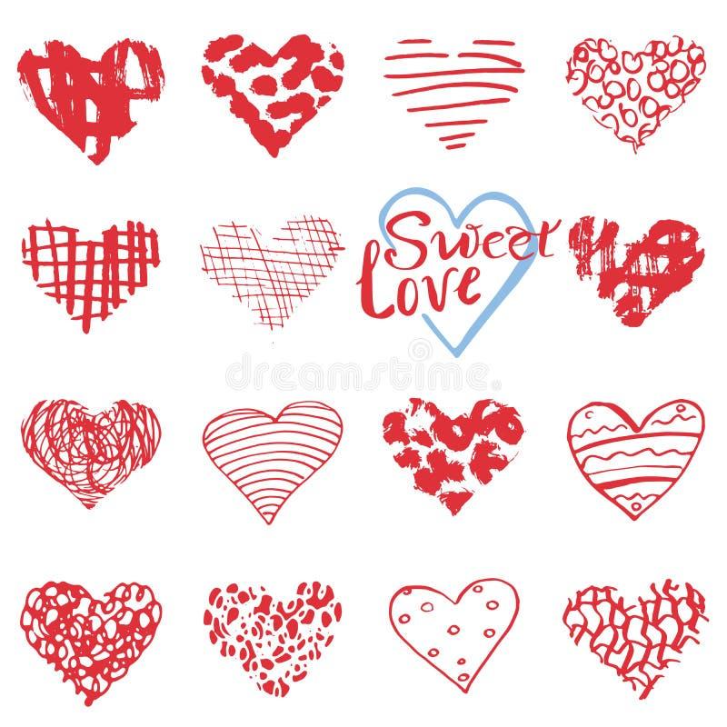 Wręcza patroszonych serce symbole, literowanie dla walentynka dnia i Kreślący doodle elementy dla ślubnych zaproszeń, scrapbook,  royalty ilustracja