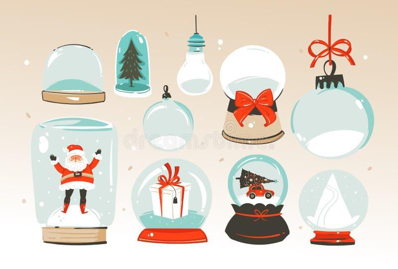 Wręcza patroszonych wektorowych abstrakcjonistycznych Wesoło boże narodzenia i Szczęśliwego nowego roku czas duża kreskówka śnież royalty ilustracja