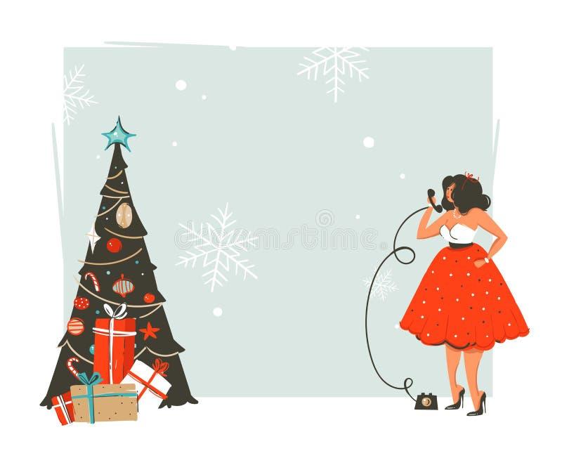 Wręcza patroszonych wektorowych abstrakcjonistycznych Wesoło boże narodzenia i Szczęśliwego nowego roku czas retro rocznik kreskó ilustracja wektor
