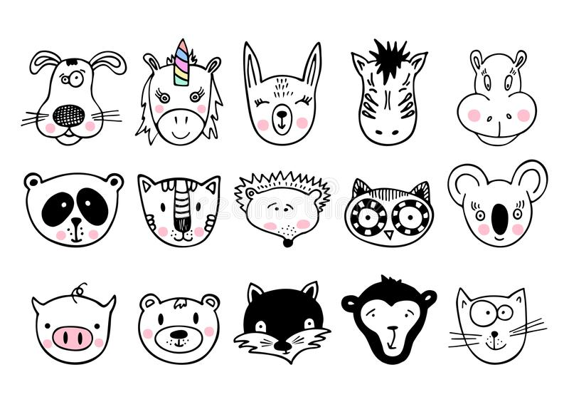 Wręcza patroszonych zwierzęta, set śliczny doodle zdjęcia royalty free