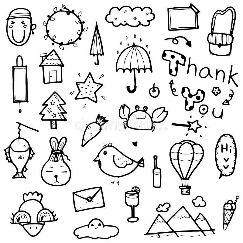 Wręcza patroszonym ślicznym doodles inkasowych elementy wektorowa ilustracja zwierzę, drzewo, słowo, przedmioty dla druku projekt royalty ilustracja