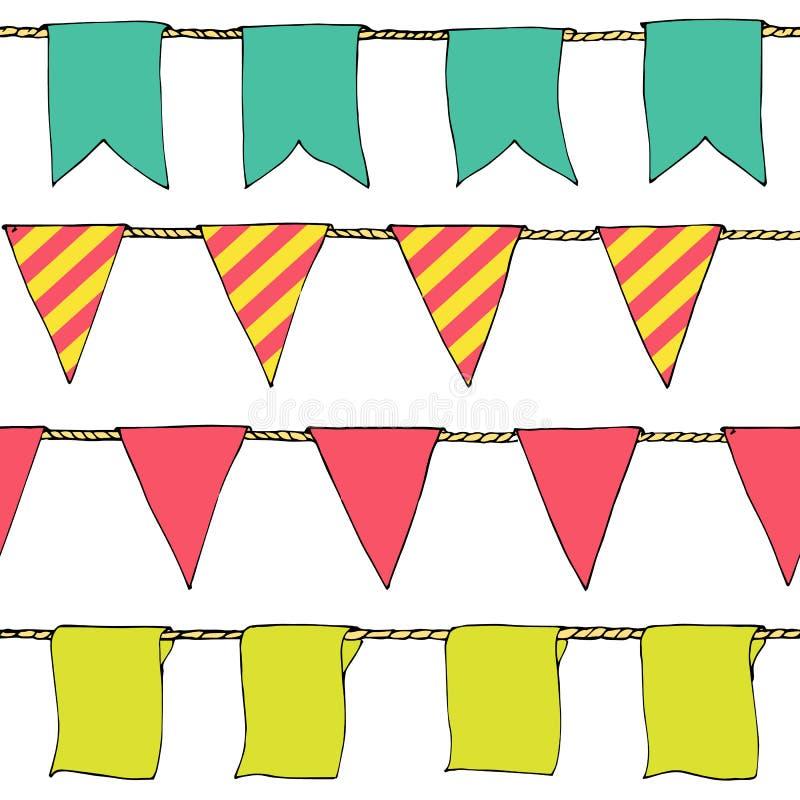 Wręcza patroszonym kolorowym doodle chorągiewki sztandarom horyzontalnego bezszwowego wzór Kreskówki chorągiewka zaznacza, sztand ilustracji