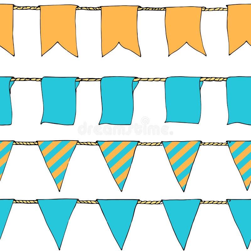Wręcza patroszonym kolorowym doodle chorągiewki sztandarom horyzontalnego bezszwowego wzór Doodle sztandaru bezszwowego wzór, cho ilustracja wektor
