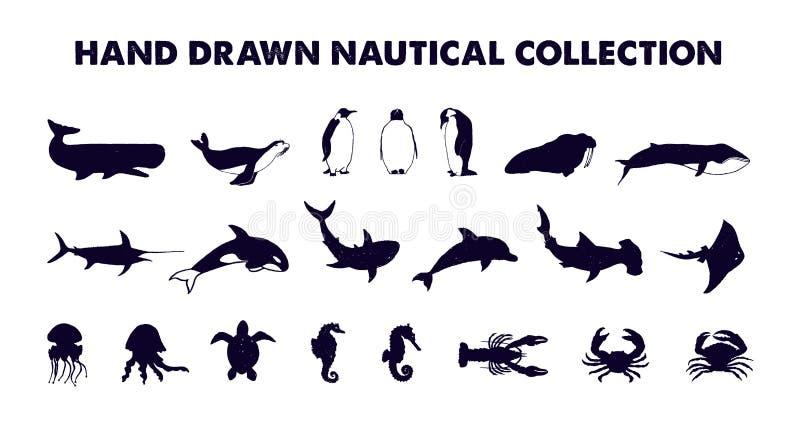 Wręcza patroszonym monochromatycznym dennym zwierzętom wektorowe ilustracje ustawiać royalty ilustracja