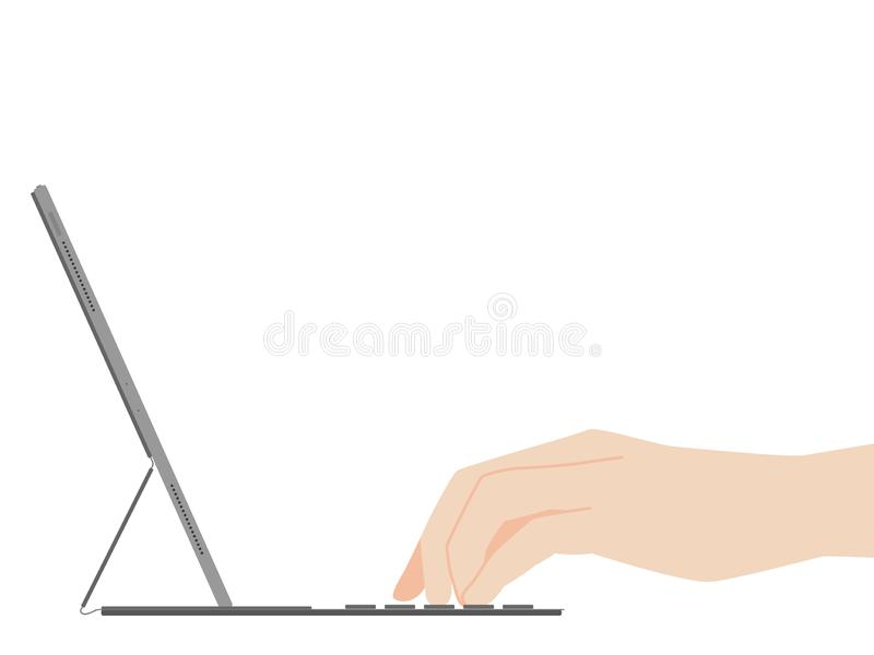 Wręcza pisać na maszynie na nowej potężnej pastylki projekta postępu nowej technologii ilustracji