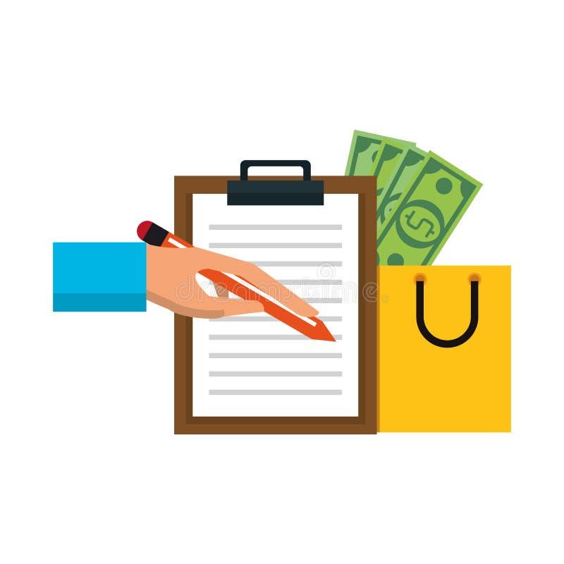 Wręcza podpisywaniu doręczeniowego schowek i torbę na zakupy z pieniędzy symbolami ilustracji