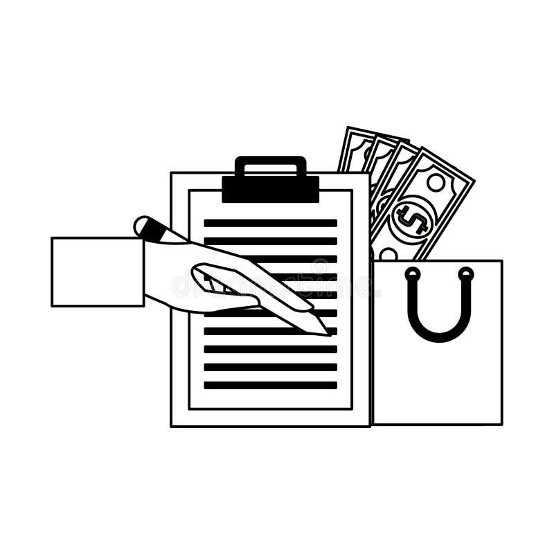 Wręcza podpisywaniu doręczeniowego schowek i torbę na zakupy z pieniędzy symbolami w czarny i biały ilustracji