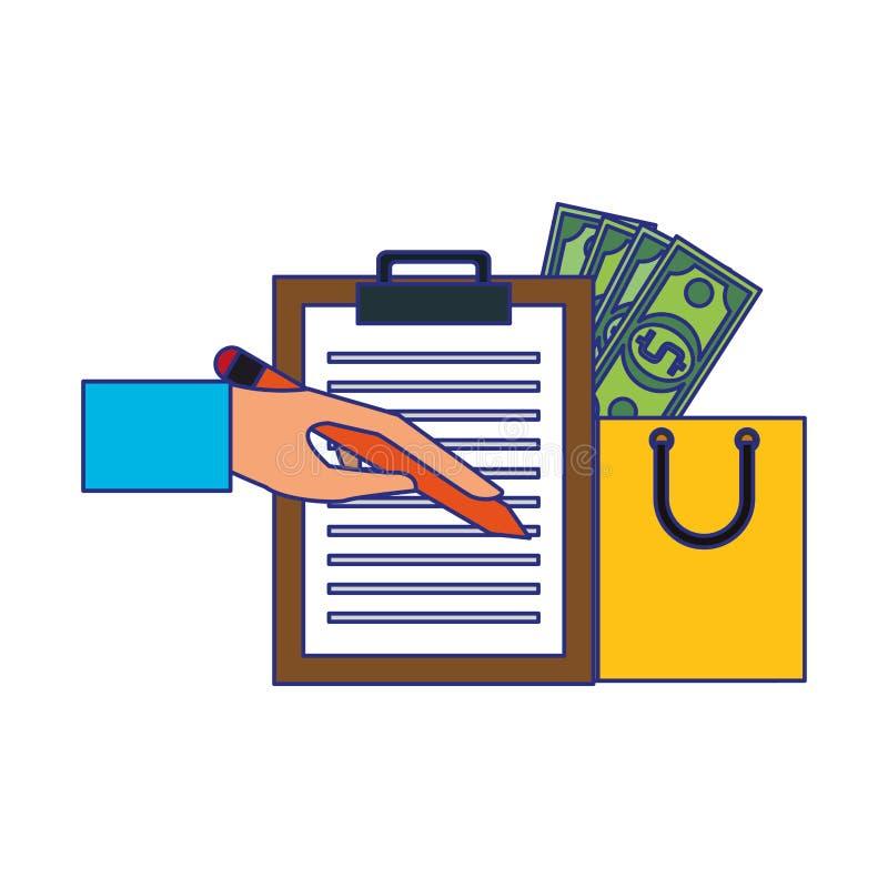 Wręcza podpisywaniu doręczeniowego schowek i torbę na zakupy z pieniędzy symboli/lów niebieskimi liniami ilustracji