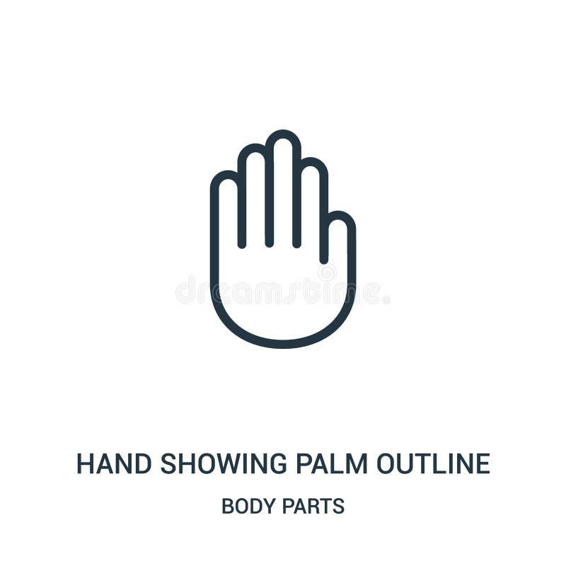 wręcza pokazywać palmowego kontur ikony wektor od części ciałych inkasowych Cienka kreskowa ręka pokazuje palmowego konturu kontu ilustracja wektor