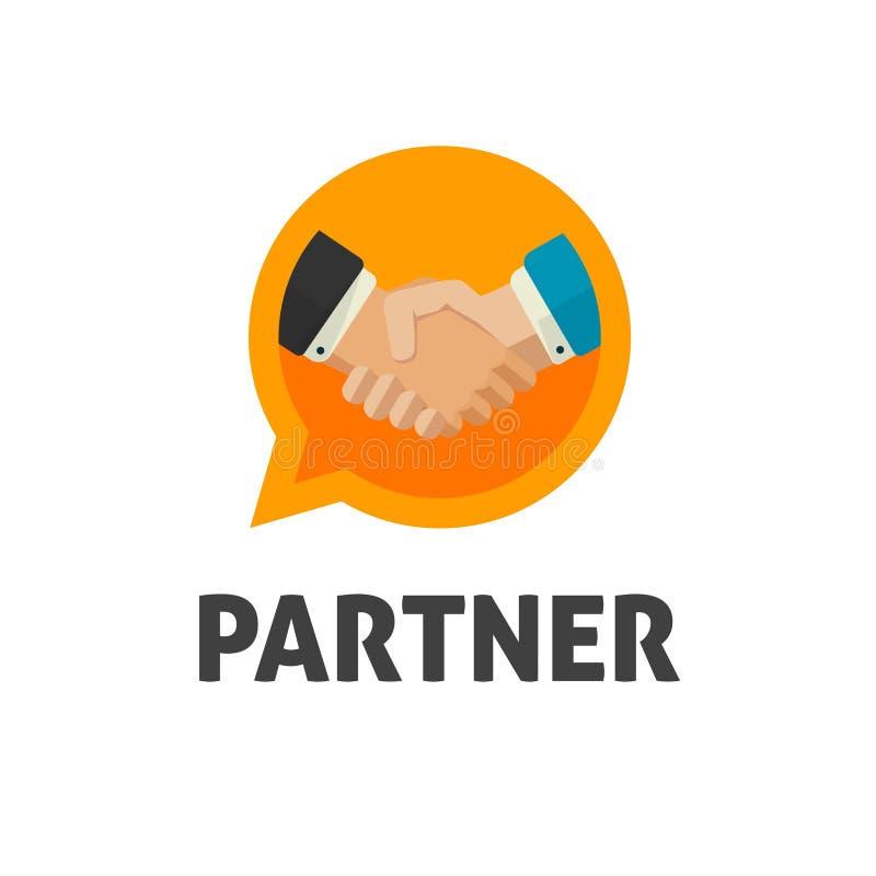 Wręcza potrząśnięcie loga wektor, płaskiego projekta chwiania ręk symbol, uścisku dłoni logotyp, pojęcie transakcja lub partnerst ilustracja wektor