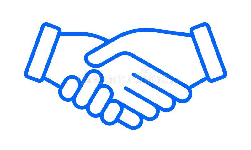 Wręcza potrząśnięciu wektorową ikonę, biznesowy partnerstwo, dylowa zgoda, drużynowy przyjaźń uścisku dłoni znak ilustracji