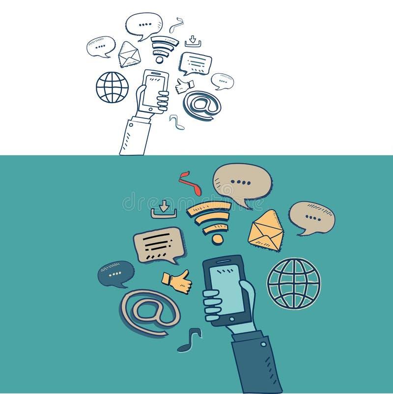 Wręcza przedstawienie socjalny i wiszącej ozdoby środki z doodle rysunku stylem ilustracji