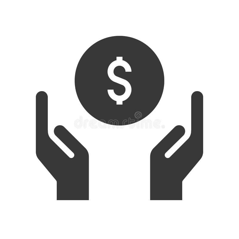Wręcza rękojeść, przewożenie pieniądze, bank lub pieniężna powiązana ikona, ilustracja wektor
